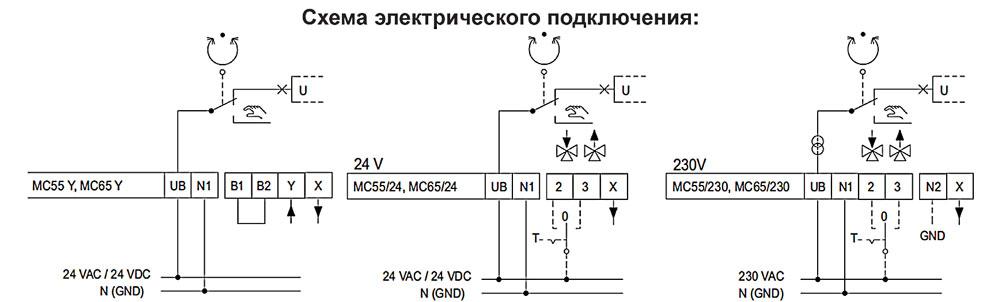 Привод MC55 / MC65 (Tour & Anderssen AB) Схема электрического подключения
