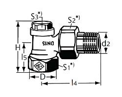 Радиаторный запорно-регулирующий клапан тип Regulux. Угловая модель
