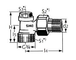 Радиаторный запорно-регулирующий клапан тип Regulux. Угловая модель с наружной резьбой G 3/4
