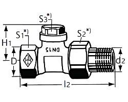 Радиаторный запорно-регулирующий клапан тип Regulux. Проходная модель