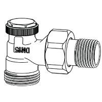 Радиаторный запорно-регулирующий клапан тип Regutec. Угловая модель с наружной резьбой G 3/4