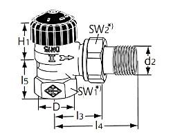 Термостатический клапан тип Standard. Угловая модель