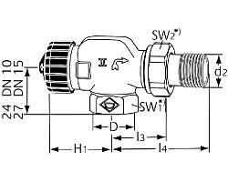Термостатический клапан тип Standard. Осевой