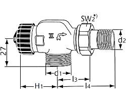 Термостатический клапан тип Standard. Осевой с наружной резьбой G 3/4