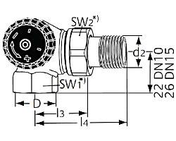 Термостатический клапан тип Standard. Двойной угловой. Монтаж на радиаторе - слева.