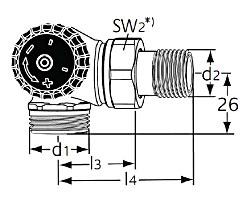 Термостатический клапан тип Standard. Двойной угловой с наружной резьбой G 3/4. Монтаж на радиаторе - слева.