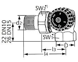 Термостатический клапан тип Standard. Двойной угловой. Монтаж на радиаторе - справа.