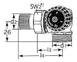 Термостатический клапан тип Standard. Двойной угловой с наружной резьбой G 3/4. Монтаж на радиаторе - справа.