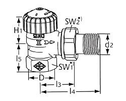 Термостатический клапан тип V-exact II. Угловая модель