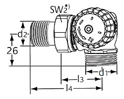Термостатический клапан тип V-exact II. Двойной угловой с наружной резьбой G 3/4. Монтаж на радиаторе - справа.