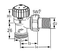 Термостатический клапан тип V-exact II. Угловая модель с наружной резьбой G 3/4