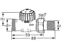 Термостатический клапан тип V-exact II. Проходная модель с наружной резьбой G 3/4