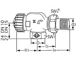 Термостатический клапан тип V-exact II. Осевой
