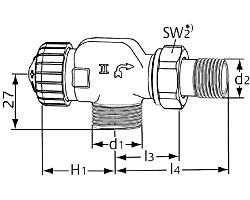 Термостатический клапан тип V-exact II. Осевой с наружной резьбой G 3/4