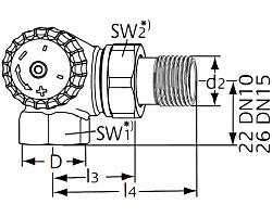 Термостатический клапан тип V-exact II. Двойной угловой. Монтаж на радиаторе - слева.