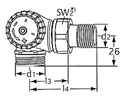 Термостатический клапан тип V-exact II. Двойной угловой с наружной резьбой G 3/4. Монтаж на радиаторе - слева.