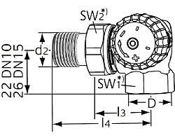 Термостатический клапан тип V-exact II. Двойной угловой. Монтаж на радиаторе - справа.