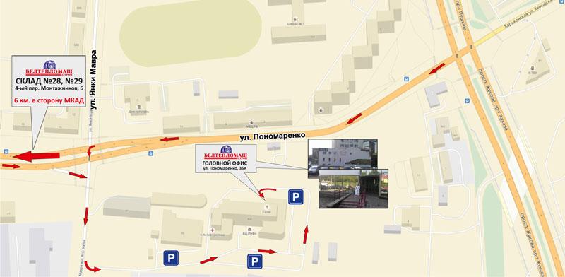 Карта проезда к новому офису Белтепломашстрой